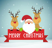 Santa and reindeer cartoon of Chistmas design Stock Photography