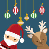 Santa and reindeer cartoon of Chistmas design Royalty Free Stock Image