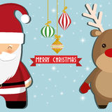 Santa and reindeer cartoon of Chistmas design Stock Images