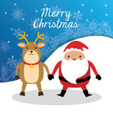 Santa and reindeer cartoon of Chistmas design Royalty Free Stock Photo