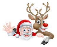 Santa and Reindeer Cartoon Royalty Free Stock Photos