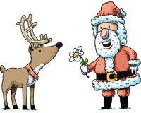 Santa and a Reindeer Stock Photography
