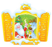 Santa and Reindeer celebrate Christmas Royalty Free Stock Photos