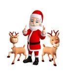 Santa and Reindeer celebrate christmas Royalty Free Stock Photo