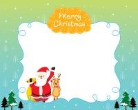 Santa And Reindeer With Christmas-Baum und Schnee-fallende Grenze Lizenzfreie Stockfotografie