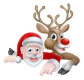 Santa and Reindeer Christmas Cartoon. Cartoon Santa and reindeer peeking above sign and pointing Christmas illustration Stock Photo