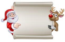 Santa and Reindeer Christmas Cartoon Sign vector illustration
