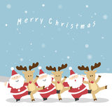 Santa and Reindeer Christmas. Santa Claus and the reindeers neck playfully dance to celebrate Christmas. Santa and Reindeer Christmas. christmas illustration of royalty free illustration