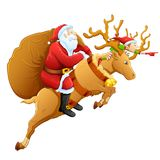 Santa on reindeer with Christmas gift Royalty Free Stock Photos
