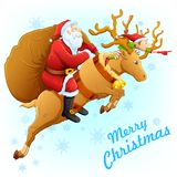 Santa on reindeer with Christmas gift Royalty Free Stock Photo