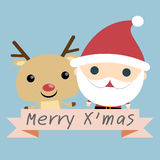 Santa and Reindeer Christmas. Christmas illustration of santa claus and red nosed reindeer stock illustration
