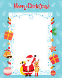 Santa And Reindeer With Christmas Ornaments Decoration Border Royalty Free Stock Image