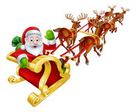 Santa and Reindeer Christmas Sleigh. Cartoon Santa Claus and his reindeer Christmas sleigh sled Stock Images