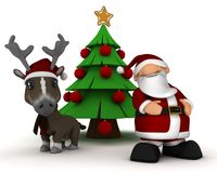 Santa and reindeer by christmas tree Royalty Free Stock Images