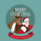 Santa and reindeer in a circle Stock Photos