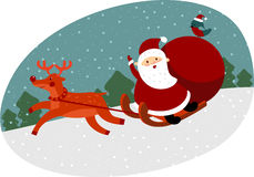 Santa with reindeer. Santa Claus on sleigh with reindeer Royalty Free Stock Photos