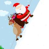 Santa and reindeer climb the mountain. Santa Claus and reindeer pulling on the mount of the gift bag Royalty Free Stock Image
