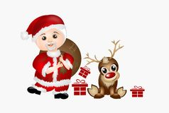 Santa with reindeer Royalty Free Stock Photography