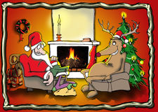 Santa and reindeer by the fire. Santa and his friend the reindeer is sitting by the fire. With frame Royalty Free Stock Image