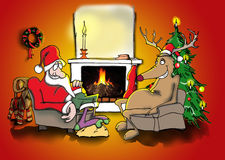 Santa and reindeer by the fire. Santa and his friend the reindeer is sitting by the fire Royalty Free Stock Image