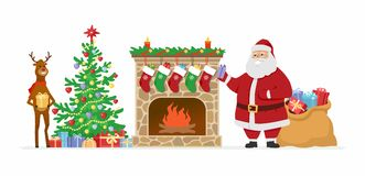 Santa and reindeer at the fireplace - cartoon characters isolated illustration. On white background. Smiling Father Frost and his cute companion put presents Royalty Free Stock Photo