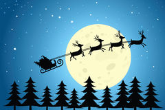Santa and Reindeer Flying Through the Night Sky. Silhouette of Santa and reindeer flying in front of the moon and over the tree-tops royalty free illustration