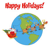Santa and reindeer flying over earth Stock Photo