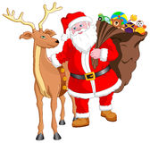 Santa and Reindeer with Gift Royalty Free Stock Photo