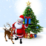 Santa with reindeer and gift box Royalty Free Stock Photos