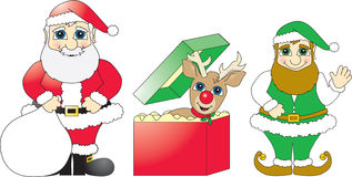 Santa, Reindeer Gift and Elf. Cartoon vector drawings of Santa Claus, a reindeer and an elf created using bright solid Christmas colors stock illustration