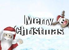 Santa and Reindeer Happy Christmas Feeling Royalty Free Stock Photos