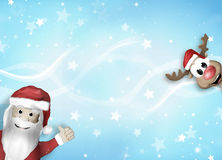 Santa and Reindeer Happy Christmas Feeling Stock Images