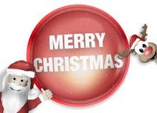 Santa and Reindeer Happy Christmas Feeling Stock Photography