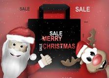 Santa and Reindeer Happy Christmas Feeling Royalty Free Stock Image