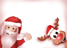Santa and Reindeer Happy Christmas Feeling Royalty Free Stock Images