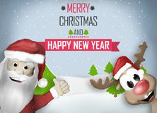 Santa and Reindeer Happy Christmas Feeling Royalty Free Stock Image