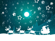 Santa Reindeer Indicates Merry Christmas And Elk Stock Image