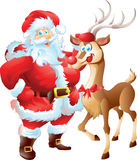 Santa with reindeer Stock Images