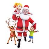 Santa and reindeer with kids Stock Photos