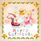 Santa and reindeer Merry Christmas card. Cute Santa and reindeer Merry Christmas card royalty free illustration