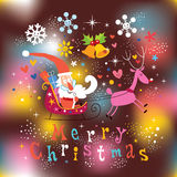 Santa and reindeer Merry Christmas card. Santa and reindeer Merry Christmas greeting card royalty free illustration