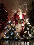 Santa and a Reindeer. Santa and one of his reindeer in a holiday display, Cincinnati, Ohio Stock Image