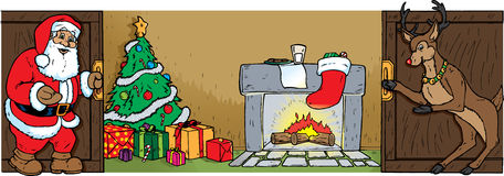 Santa and Reindeer opening doors Stock Photos