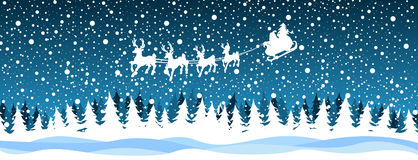 Santa reindeer over the forest Stock Image