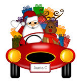 Santa and Reindeer in Red Sports Car with Presents. Santa Claus and Reindeer in Red Sports Car Delivering Presents Isolated on White Illustration Royalty Free Stock Images