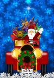 Santa and Reindeer Riding in Vintage Red Car royalty free illustration