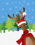 Santa Reindeer with Santa Hat Snow Scene Illustrat. Santa Reindeer with Christmas Red Santa Hat and Scarf on Winter Snow Scene Background Illustration Stock Image
