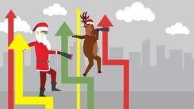 Santa and a reindeer.