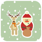 Santa and reindeer in a scarf congratulate, copyspace. Banner for Christmas card Stock Images