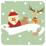 Santa and reindeer in a scarf congratulate, copyspace. Banner for Christmas card Royalty Free Stock Photo